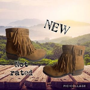 NOT RATED Fringed ankle boots